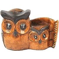 aheli Figura de búho tallado a mano de madera con diseño de búho para decoración del hogar