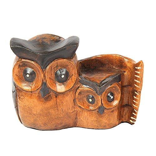 aheli handgefertigt Tawny Eule mit Baby Holz geschnitzt Skulptur Eule Ornament VOGEL FIGUR für Home Decor Geschenk -