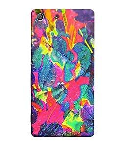 PrintVisa Designer Back Case Cover for Sony Xperia M5 Dual :: Sony Xperia M5 E5633 E5643 E5663 (Modern Art Texture Rainbow Purple Paint )