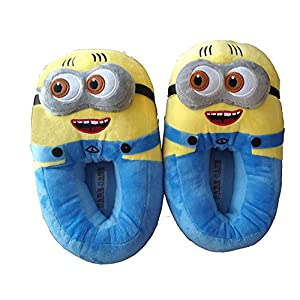 CARE CASE Girl's Blue Minion Plush Slippers - Free Size