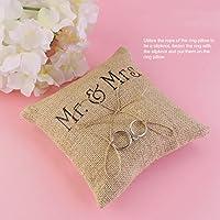 Tinksky Sr. Sra. arpillera yute anillo amortiguador anillo portador almohada favores de la boda