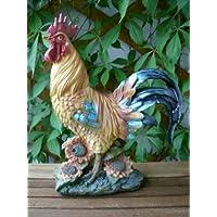 Lifetime Garden - Figura decorativa de jardín con detector de movimiento (29cm), diseño de gallina