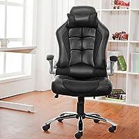 Sedia da ufficio Poltrona Sedia da Computer con schienale alto, in pelle sintetica nero