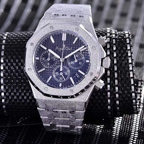 WDXDP Uhr Herrenuhr Chronograph Saphir Edelstahl Silber Matt Kristall Stoppuhr Leuchtend Schwarz Blau Grau Schwarz