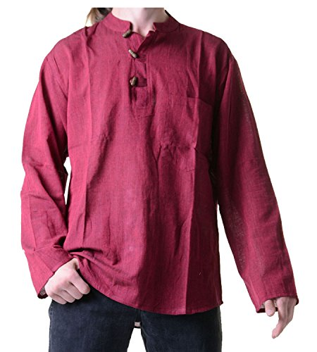 Kunst und Magie Herren Fischerhemd Kurtha Uni Überzieher Hemd, Größe:S, Farbe:Bordeaux