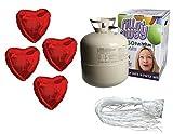 SET: Helium Ballongas + 50 rote Folienherzen + 50 Fäden/Schnellverschlüsse