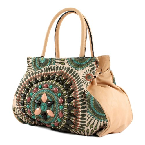 Handtasche Damentasche Tasche Tragetasche Damen Mexicostyle Lederimitat LK138064 Grün