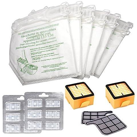 Kit de 12 Sacs Vorwerk Kobold VK 135/VK 136 + 2 Filtre de Protection du Moteur + 2 Microfiltre Hygiénique + 12 Parfum Chips - Garantie 24 Mois Bosaca Officielle