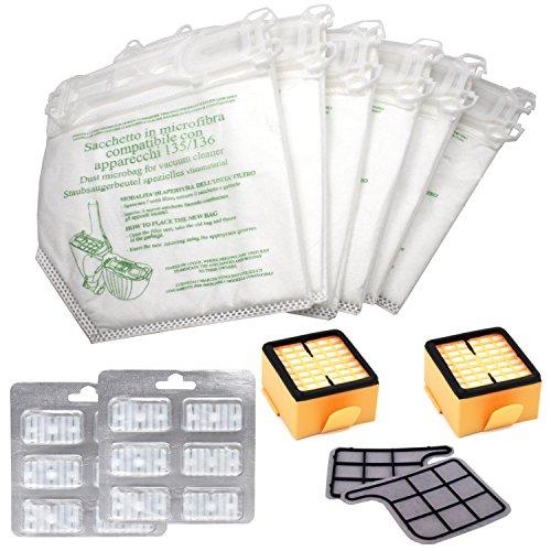 Set de 12 Bolsas-Filtro de Fibra para Vorwerk Kobold VK 135/136 + 2 Microfiltros Higienico + 2 Filtros de Motor + 12 Ambientadores para Aspiradoras Kobold VK 135/136 - Garantía 24 Meses Bosaca Oficial