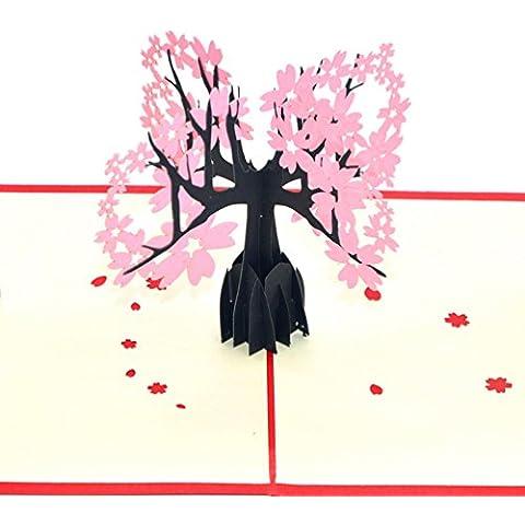 Medigy 3D Pop Up tarjetas de felicitación cerezo árbol tarjetas en blanco para Occastions más