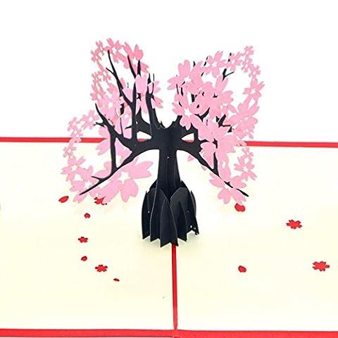 Medigy Carte d'Anniversaire Faite à Main 3D Pop Up Kirigami Creux Arbre de fleur de cerisier Pliable Carte Postale de Voeux pour Anniversaire Mariage Saint Valentin avec Enveloppe