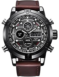 4b7a72b2b09a VEHOME Reloj Deportivo de Lujo para Hombres - Correa de Cuero - Pantalla  analógica Digital LED