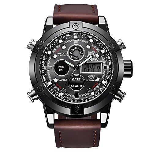 Challeng Herrenuhr LED Sportuhr Luxus Leder Quarz Analog Digital Business Armbanduhren Geschenk