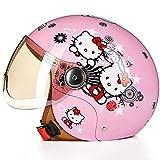 NJ Helm- Kinderhelm Elektro Fahrrad Cartoon Winter Junge Mädchen einstellbare Größe halbe Helm (Farbe : J, größe : 52-54cm)