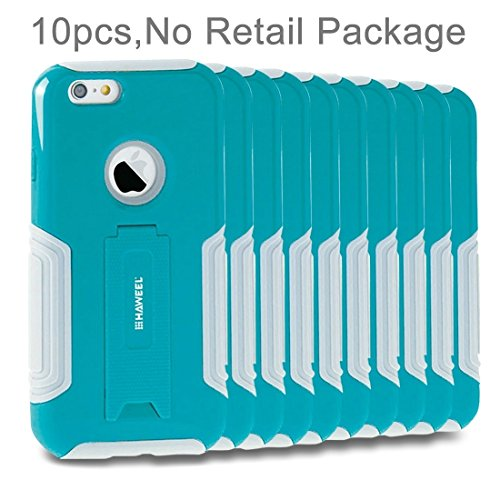 10 PCS HAWEEL für iPhone 6 Plus & 6s Plus Dual Layer TPU Kunststoff Combo Stand Case mit Kickstand, kein Kleinpaket by diebelleu ( Color : White ) Baby blue