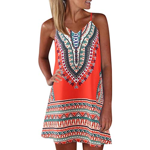 Feinny Damen Rock Kleid Sale/Sommer Damenmode V-Ausschnitt Ärmellos Obohic Color Block Print A-Linie Rock Mini Weste Kleid/Orange/S-XL -