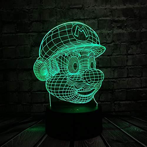 Klassische Cartoon Spielfigur Super Mario 3D LED USB Lampe Acryl Neuheit Weihnachtsbeleuchtung Geschenk RGB Touch Fernbedienung Spielzeug