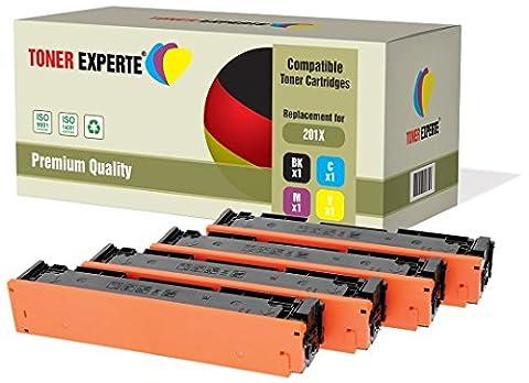 Pack 4 TONER EXPERTE® Compatibles CF400X CF401X CF402X CF403X / 201X Cartouches de Toner pour HP Color LaserJet Pro M252dw, M252n, MFP M277dw, MFP M277n