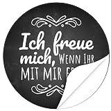 48 Design Etiketten, rund/Ich freue mich Motiv 2/Hochzeit/Taufe/Geburtstag/Konfirmation/Aufkleber/Sticker/Einladung