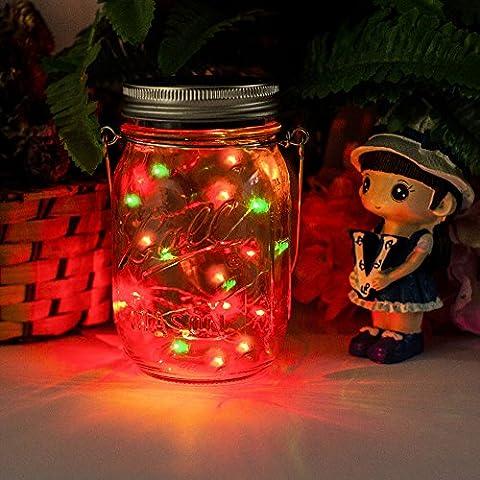 Solar Mason Jar Licht - Jar Fee Licht, Wasserdichte Glasgläser Garten Hängeleuchten, LED Weihnachtsbeleuchtung Lichterkette,LED String Licht für Party, Weihnachtsferien, Hochzeitsdekoration(Bunt)