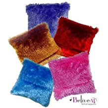 Belive-Me Feather Soft Baby Car Cushion Cover (12X12-Inches, Multicolour) - Set Of 5