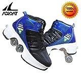 unbrand Scarpe con Ruote 4 Scarpe da Skate Roller 2 in 1 per Bambini Unisex Ruote con Ruote per Skateboard Scarpe Miglior Regalo per I Bambini,Black-37