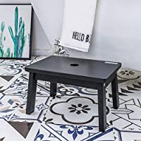HOUCHICS Wooden Step Stool Stepping Foot Stool Water Resistant Household Toddler Square Footstool for Indoor Kitchen Bathroom with Safety Non-Slip Pads (Black)