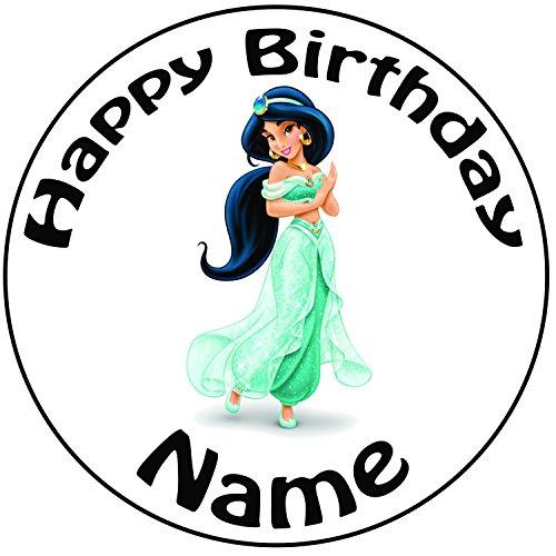 Personalisierter Disney Aladdin Prinzessin Jasmin Zuckerguss Kuchen Topper / Kuchendekoration - 20 cm Großer Kreis - Jeder Name Und Jedes Alter