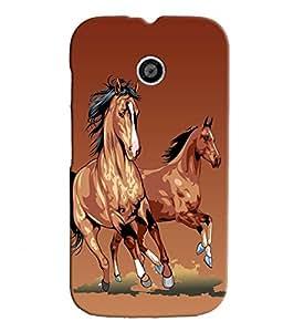 Fuson Horses Back Case Cover for MOTOROLA MOTO E - D3769