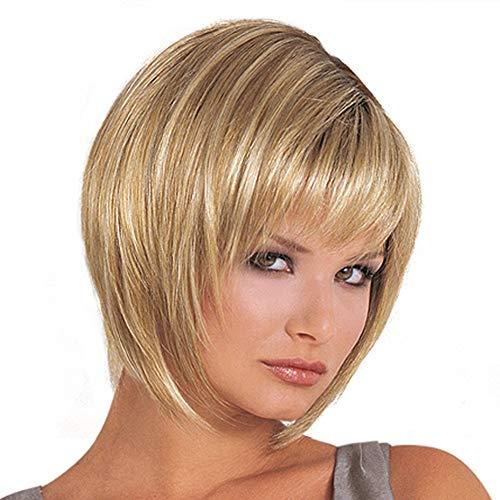 rperücken Blonde Pixie Short Perücke Braun Und Blonde Bob Style Highlights mit Fransen Pony Fashion Charming Womens Ladies 'Hair ()
