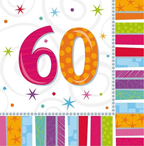 Pinata Kostüm Paar - Amscan Geburtstags-Servietten 60 Jahre, 16 Stück