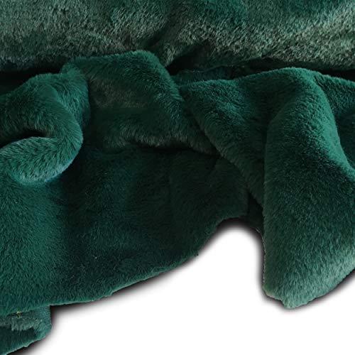 Tessuto eco pelliccia peluche per abbigliamento - a metraggio a partire da 50 cm di lunghezza x 155 cm di larghezza fissa (1/2 metro, verde)