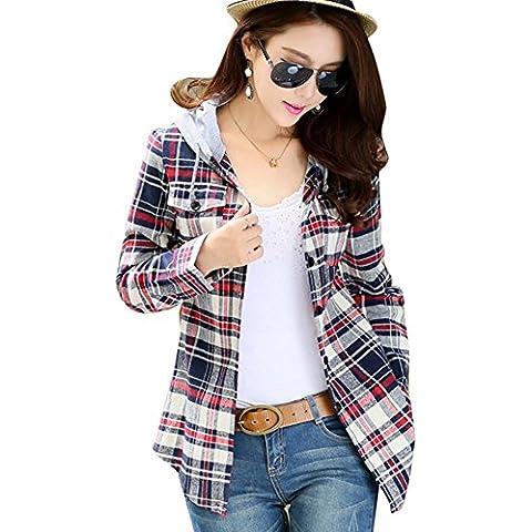 hrph Las mujeres de la moda informal de manga larga con capucha ropa del otoño de la blusa de la tela escocesa de las mujeres Cardigan