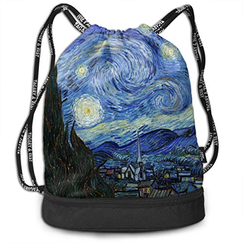 Osmykqe Starry Night Unisex Waterproof Drawstring Backpack Rucksack Yoga Dance Travel Shoulder Bags -