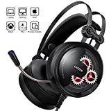 Gaming Headset with Mic, Latow GH02 Stereo Over Ear Noise Cancelling Headphones, 50mm Driver, Led Lights, Bass Surround, Soft Memory Earmuffs for PS4, PC, Xbox One, Switch, Professional Gamer Headset