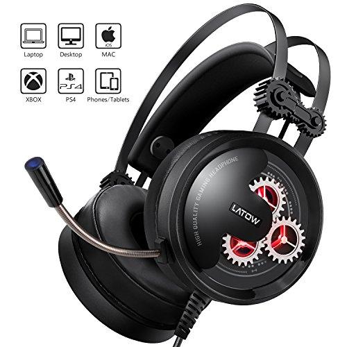Gaming Headset, LATOW Stereo Over Ear Gaming Kopfhörer LED Beleuchtete Surround Sound 50mm Treiber Zahnrad mit Mikrofon für PS3 / PS4 / Xbox One / Mac / Pad / PC / Laptop / Handy, Geeignet für Alle Altersgruppen