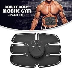 Idea Regalo - Furein - Beauty Body Mobile, cintura fitness con 6 adesivi EMS per stimolazione ed allenamento degli addominali, ultra leggera, adatta a uomini e donne, ideale per scolpire il tuo corpo ed avere un ventre piatto, con controllo remoto