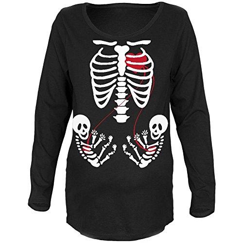 Halloween Twin Baby Skelette schwarze Mutterschaft weiches - T-shirts Mutterschaft Baby Halloween