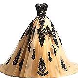 Cloverbridal Damen Ballkleider Prinzessin Lang Prom Kleider Quinceanera Kleid Ball Gown Golden 38