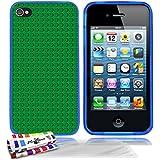 Originale Schutzschale von MUZZANO : Blau, ultradünn und flexibel, mit Green bricks-Muster für APPLE IPHONE 4 / IPHONE 4S + 3 Displayschutzfolien UltraClear