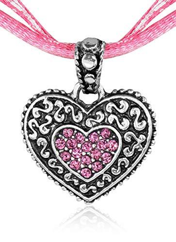 Kinder Trachten Halskette kariert mit Herz Anhänger Rosa - Süßer Schmuck für Mädchen zu Dirndl und Kleidern -