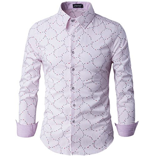 Men's Fashion Printed Long Sleeve Anti Wrinkle Cotton Slim Fit Casual Shirts pink