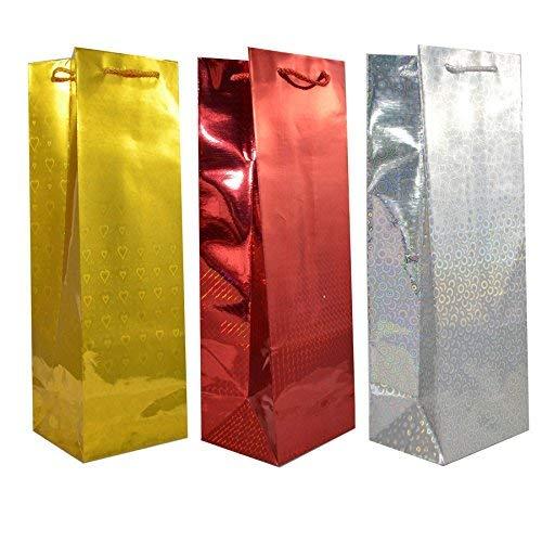 SHATCHI Xmas Wrap Bulk Buy Wholesale 50 Assorted Holographic Gift Bags for Wine Bottle Christmas Present, Multi