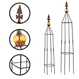 1PLUS Metall Rankhilfe Obelisken Set, 2 Stück, Höhe: 80,5 und 100 cm, in versch. Farben - rost-geschützte Garten Rosen Säule (Lambert, Braun)