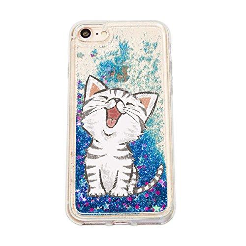 finoo | Iphone 6 Plus / 6S Plus Flüssige Liquid Blaue Glitzer Bling Bling Handy-Hülle | Rundum Silikon Schutz-hülle + Muster | Weicher TPU Bumper Case Cover | Elefanten Schaukel Hase Kleine Katze
