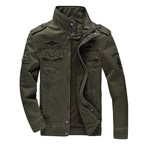 Newbestyle Baumwolle Militär Jacke Herren Fruhling Herbst Übergangsjacke Parka Pilotenjacke Männer Feldjacke mit Reißverschluss Army Green Large