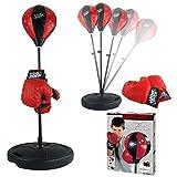 Vetrineinrete® Punching ball per bambini con guantoni boxe regolabile in altezza da 80 a 100 cm base zavorrabile con acqua o sabbia allenamento pugilato box E55