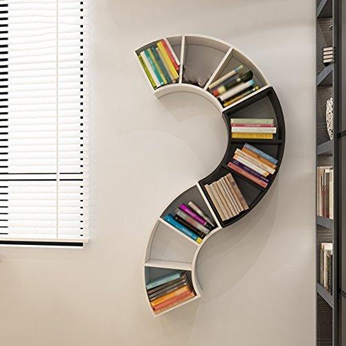 Qianda mensole da muro parete scaffale libri libreria combinata fibra a media densità libreria per bambini soggiorno parete dello sfondo della tv scaffale di stoccaggio, 2 colori opzionale