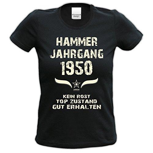 66.Geburtstag-Damen-Mädchen-Happy-Birthday Fun-Girlie-T-Shirt Geschenk mit Sprüche-Motiv: Hammer Jahrgang 1950 Farbe: schwarz Schwarz