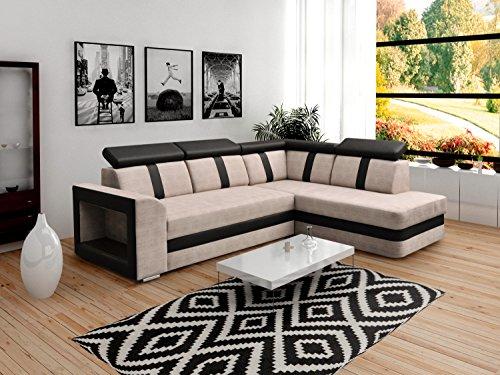 mb-moebel Ecksofa Sofa Eckcouch Couch mit Schlaffunktion und Bettkasten Ottomane L-Form Schlafsofa Bettsofa Polstergarnitur Wohnlandschaft – Texas
